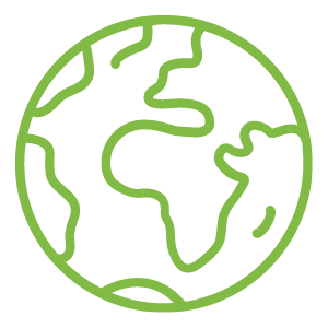A two dimensional icon of the Earth in green.
